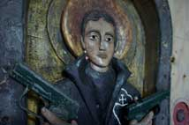 A photograph of an original sculpture of Saint Gabriel de Possenti by KJ James